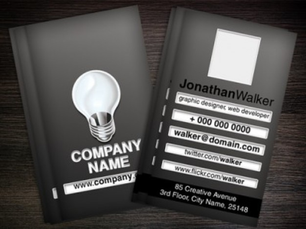 Black business card template PSD PSD file