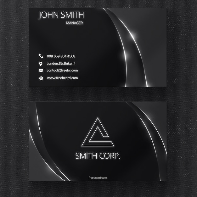 Black business card with glossy lines Free Psd