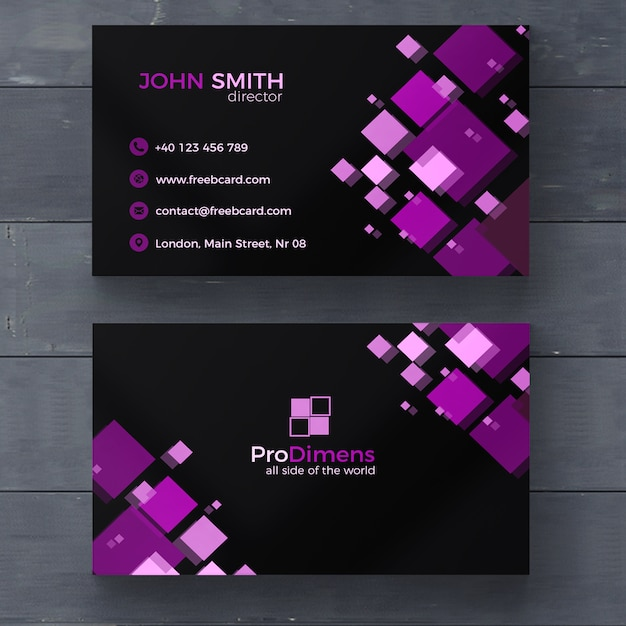 Black business card with purple squares psd file free download black business card with purple squares free psd reheart Images