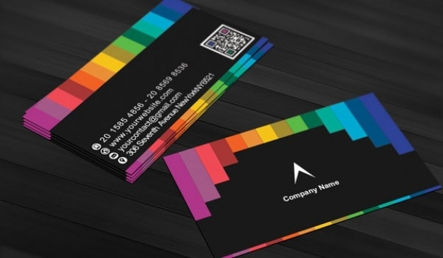 Black Business Card With Rainbow Stripes Free Psd