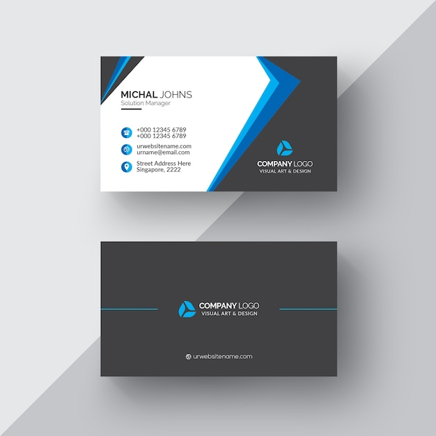 black business card with white and blue details psd file free
