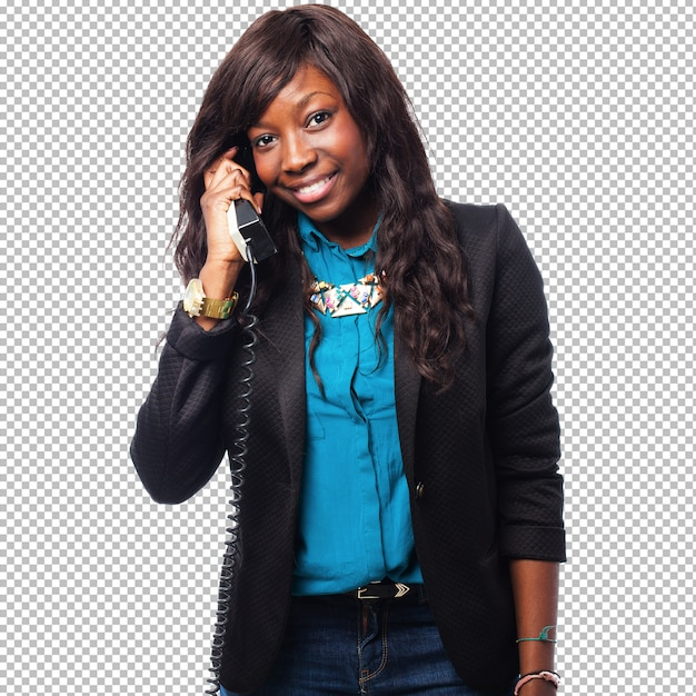 Black businesswoman talking on telephone Premium Psd