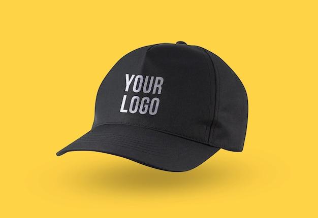 Black cap logo mockup for branding Premium Psd