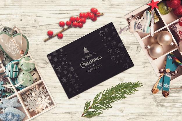 Черная карточка с рождественским дизайном Premium Psd