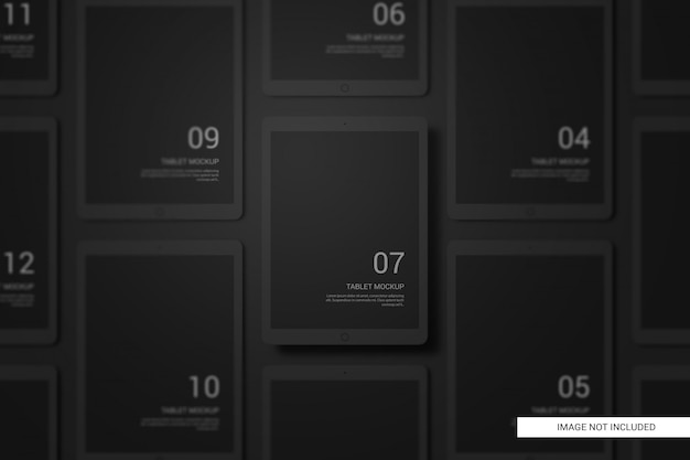 Black clay devices tablet mockup Premium Psd