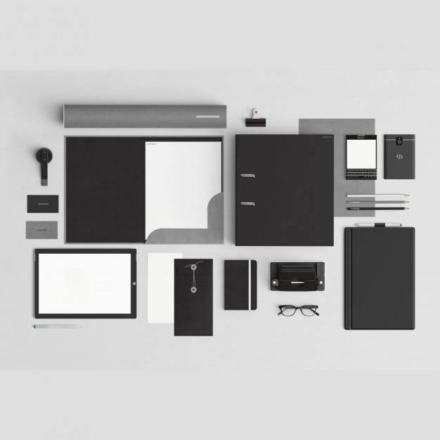 Black corporative stationery with office elements PSD file | Free ...