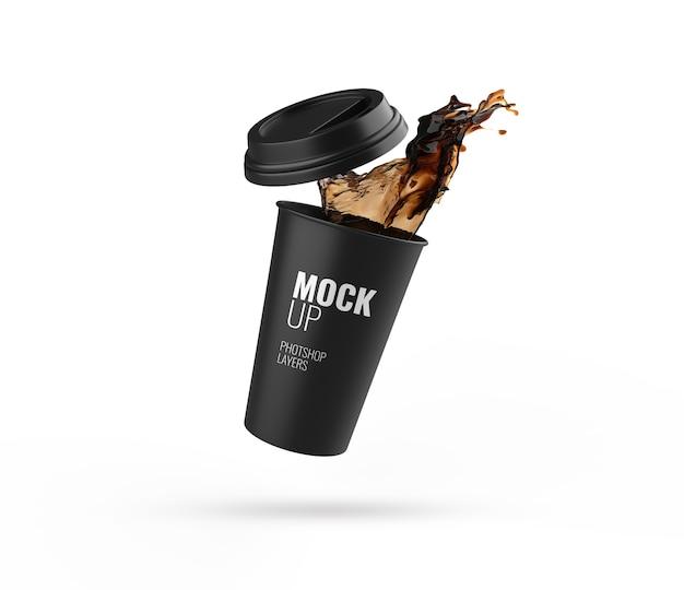 Черная чашка всплеск изолированный макет 3d-рендеринга реалистичный Premium Psd
