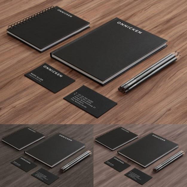 Black and elegant corporative stationery Free Psd