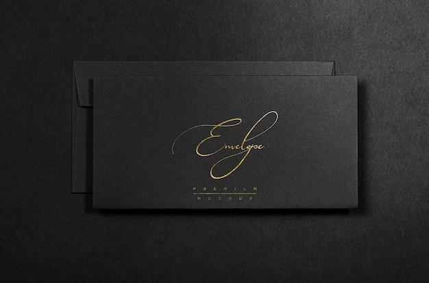 金箔の黒い封筒モックアップ Premium Psd