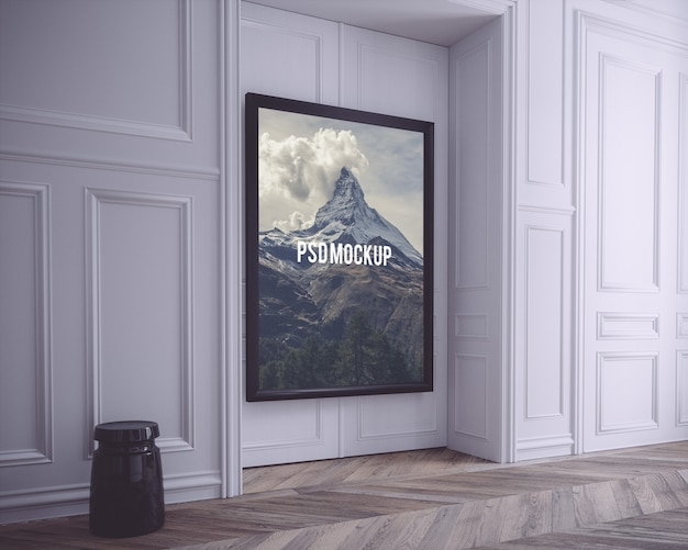 Black frame on white wall mock up PSD file | Free Download
