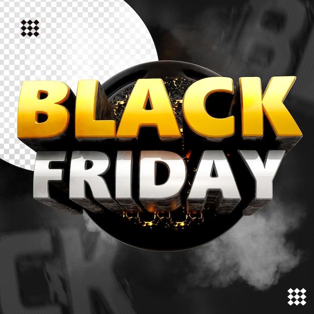 Black friday 3d logo with circular fire base Premium Psd