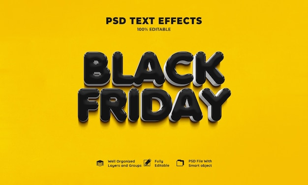검은 금요일 3d 텍스트 효과 무료 PSD 파일