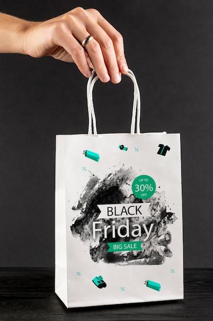 Black friday bag concept mock-up Free Psd