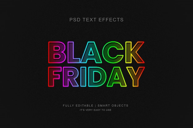 Black friday banner and photoshop neon text effect Premium Psd
