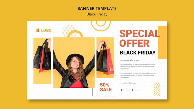 Black friday banner template design Free Psd