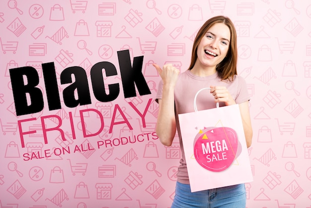 Black friday banner with beautiful woman Free Psd