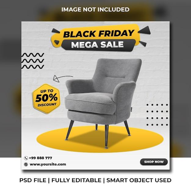 Black friday chair discount social media post square instagram template Premium Psd
