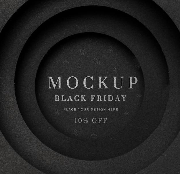 Черная пятница круглый черный макет Premium Psd