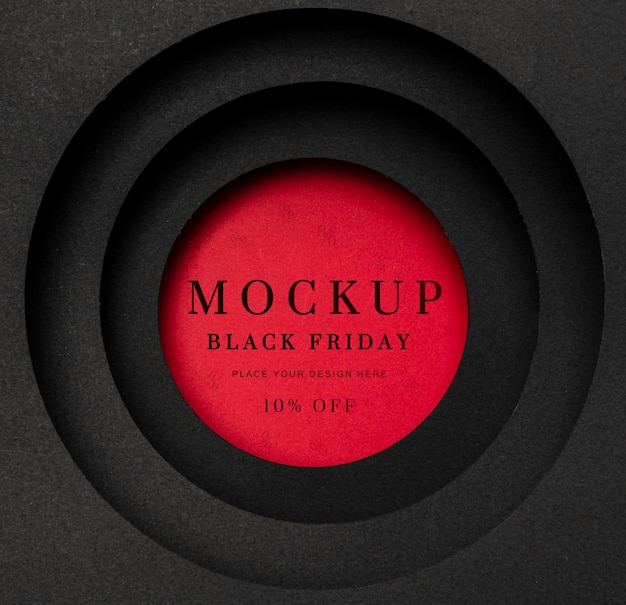 Черная пятница круглый красный макет Бесплатные Psd