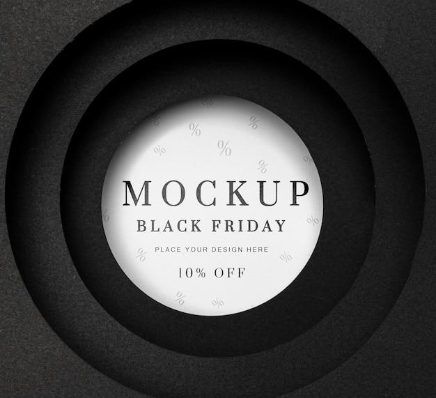 Черная пятница круглый белый макет Premium Psd