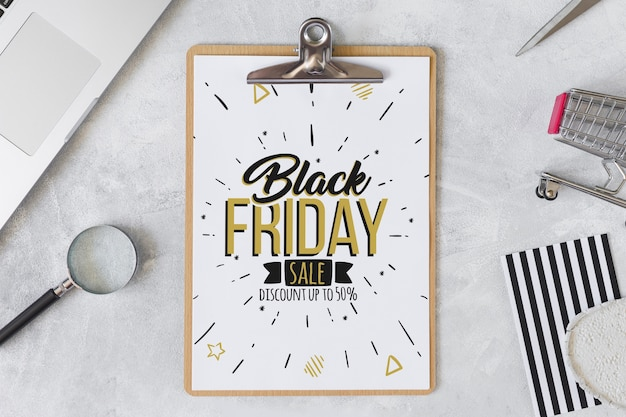 Black friday composition with clipboard Free Psd