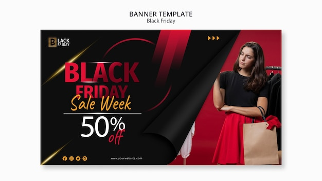 Black friday concept banner template Free Psd