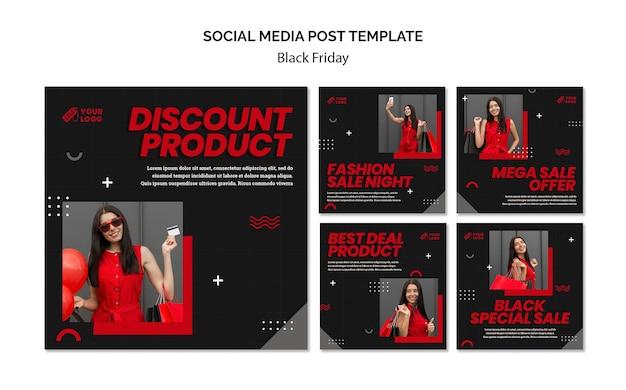 Черная пятница концепция поста в социальных сетях Premium Psd