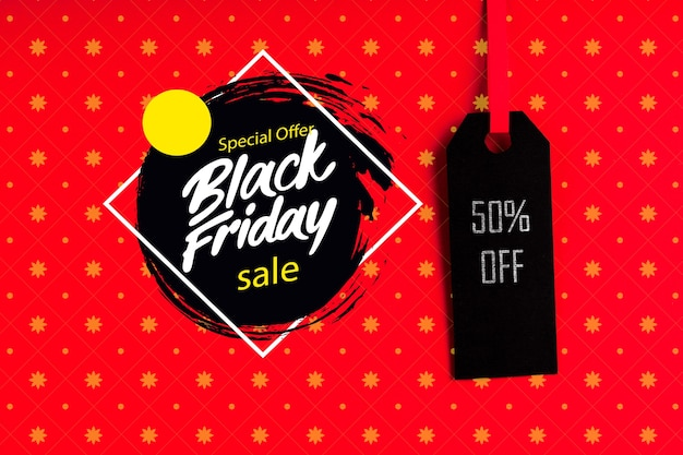 Black friday concept with price tag Free Psd