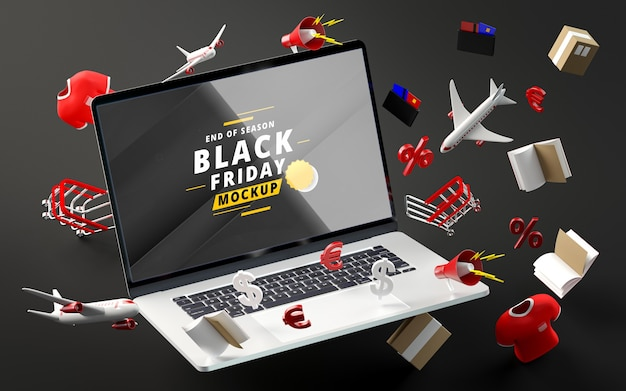 Black friday discount items mock-up black background Free Psd