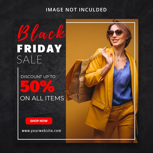 Black friday fashion sale social media template Premium Psd