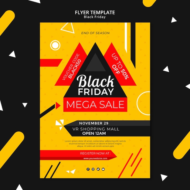 Black friday flyer template mock-up Free Psd