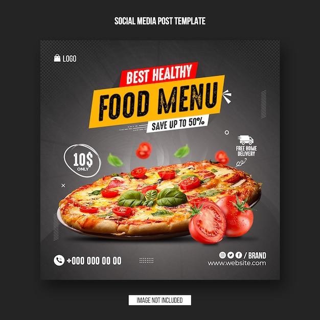 Black friday food menu social media post and instagram banner design template Premium Psd
