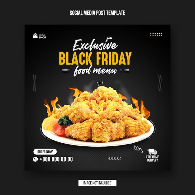 Black friday food social media post and instagram banner design template Premium Psd