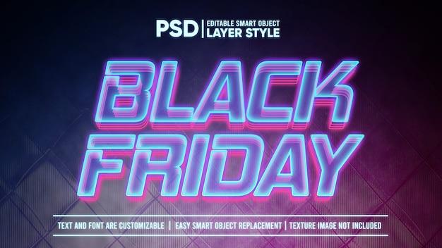 ブラックフライデーの未来的なホログラフィックライトスマートオブジェクトレイヤー効果 Premium Psd