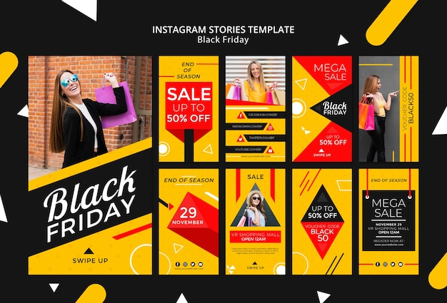 Black friday instagram stories template mock-up Free Psd