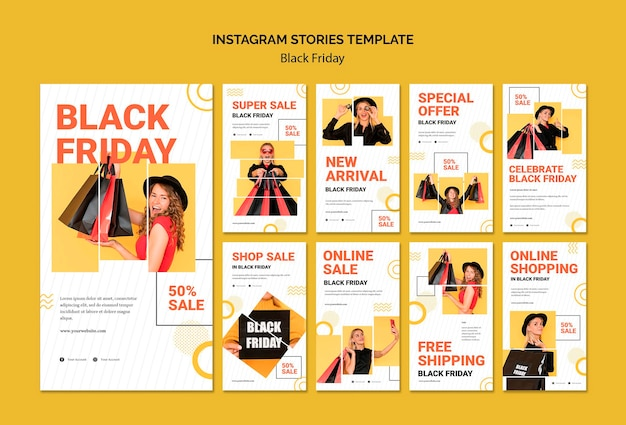 Black friday instagram stories template Premium Psd