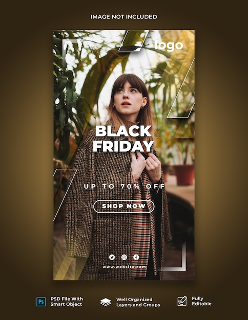Black friday instagram story template Premium Psd