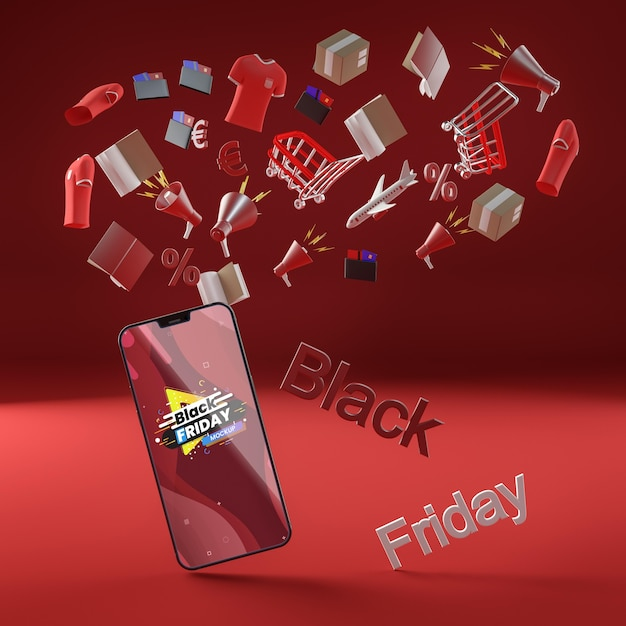 Sfondo rosso sconto telefono cellulare venerdì nero Psd Gratuite