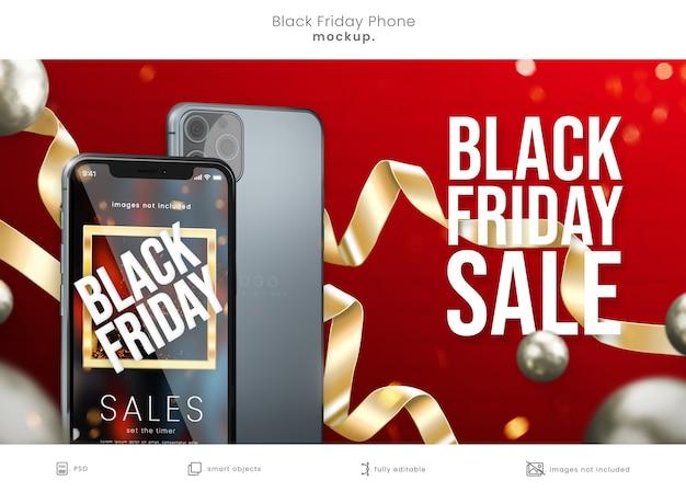 리본이 달린 빨간색 배경에 검은 금요일 휴대 전화 화면 모형 프리미엄 PSD 파일