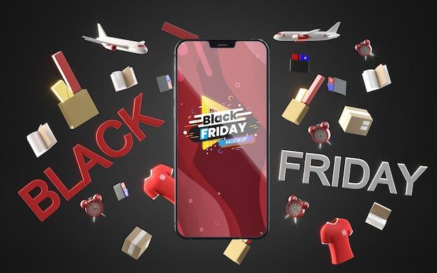 Black friday mobile in vendita mock-up sfondo nero Psd Gratuite