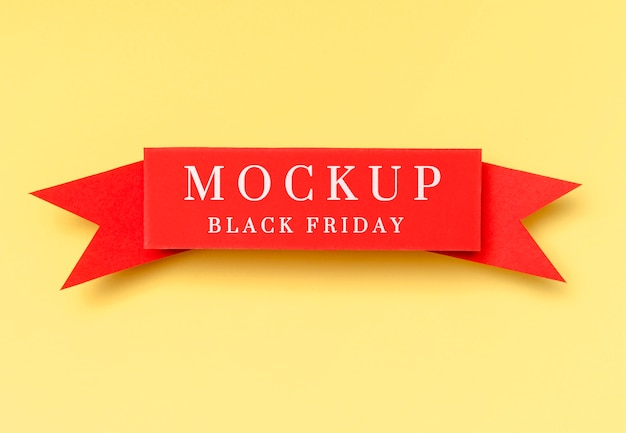 노란색 바탕에 검은 금요일 모형 빨간 리본 무료 PSD 파일
