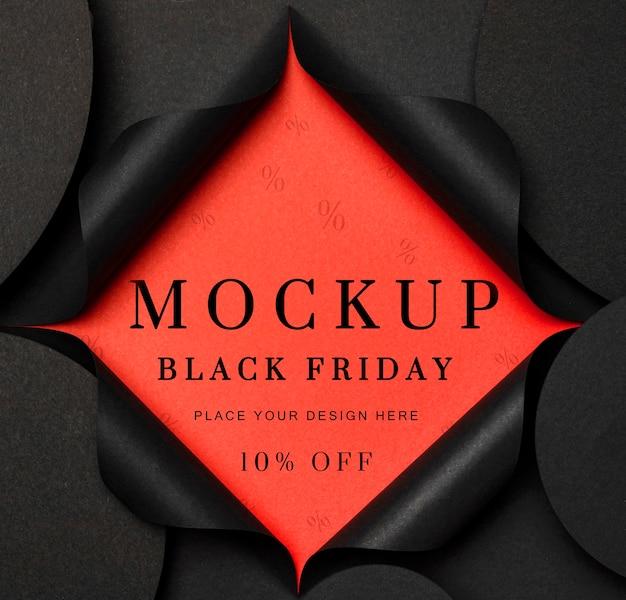 Black friday mock-up torn black paper Free Psd