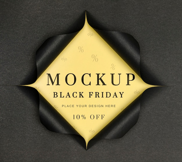 Black friday mock-up torn paper Free Psd