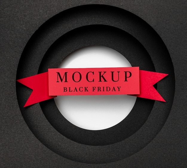 Black friday mock-up with red ribbon Free Psd