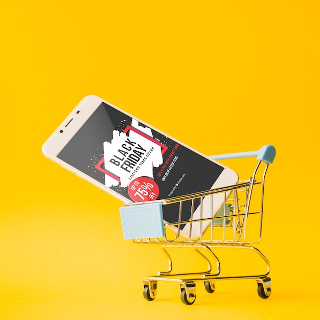 Black friday mockup with smartphone Free Psd