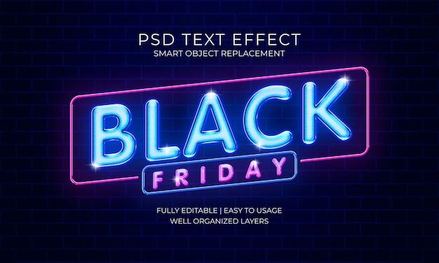 Черная пятница неоновый текстовый эффект шаблон Premium Psd