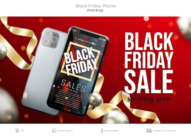 리본이 달린 빨간색 배경에 검은 금요일 전화 화면 모형 프리미엄 PSD 파일