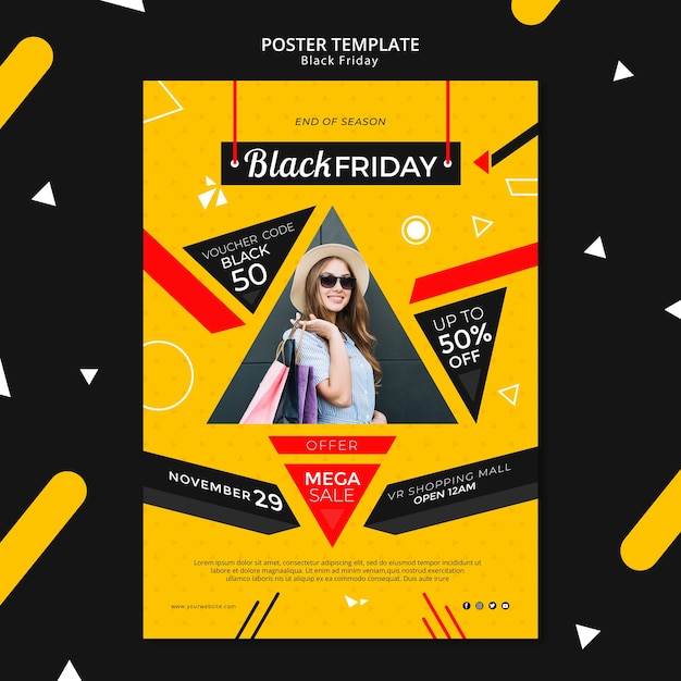 Black friday poster template mock-up Free Psd
