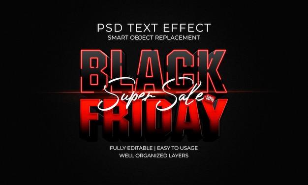 Черная пятница красный черный текстовый эффект шаблон Premium Psd