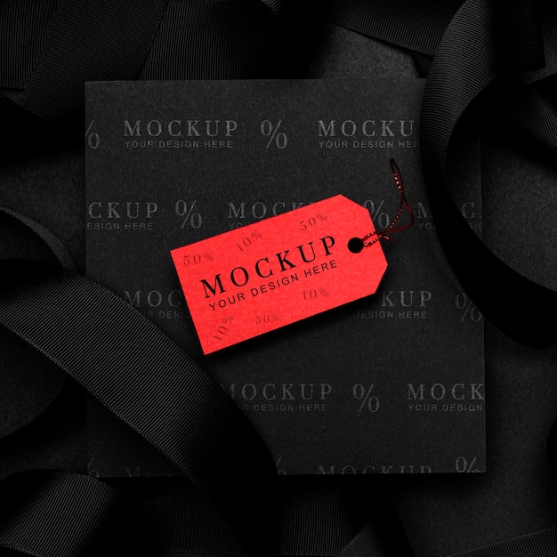 Tag mock-up rosso venerdì nero Psd Gratuite